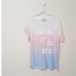 {Wildfox}Faking It So Real Manchester t-shirt B10